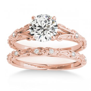 Diamond Antique Style Bridal Set 14k Rose Gold (0.07ct)