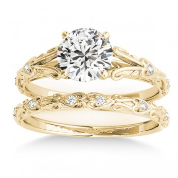 Diamond Antique Style Bridal Set 14k Yellow Gold (0.07ct)