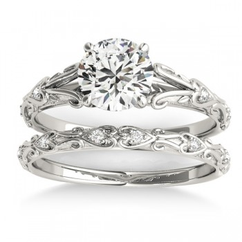 Diamond Antique Style Bridal Set Platinum (0.07ct)