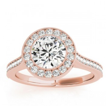 Milgrain Cathedral Halo Engagement Ring Setting 14k Rose Gold (0.33ct)