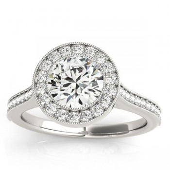 Milgrain Cathedral Halo Engagement Ring Setting 18k White Gold (0.33ct)
