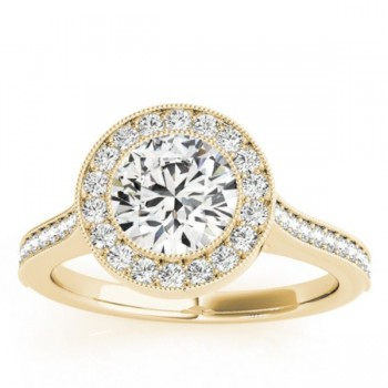 Milgrain Cathedral Engagement Ring Setting 18k Yellow Gold (0.33ct)