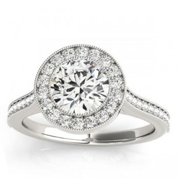 Milgrain Cathedral Halo Engagement Ring Setting Platinum (0.33ct)
