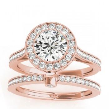 Diamond Accented Bridal Set Setting 14k Rose Gold (0.47ct)