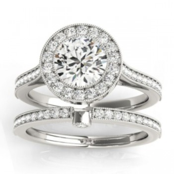 Diamond Accented Bridal Set Setting 18k White Gold (0.47ct)