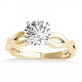Diamond Twisted Shank Engagement Ring in 18k Yellow Gold