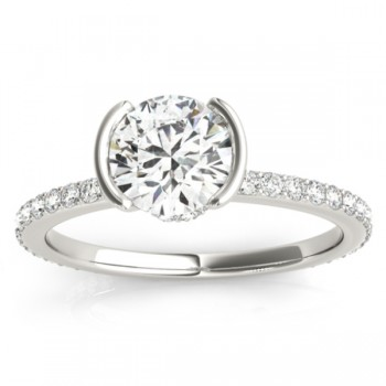 Semi-Bezel Diamond Engagement Ring Setting 14k White Gold (0.30ct)