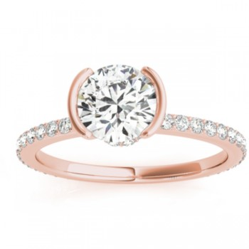 Semi-Bezel Diamond Engagement Ring Setting 18k Rose Gold (0.30ct)