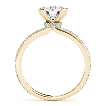 Semi-Bezel Diamond Engagement Ring Setting 18k Yellow Gold (0.30ct)
