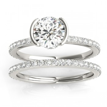 Semi-Bezel Setting Bridal Set 14k White Gold (0.56ct)