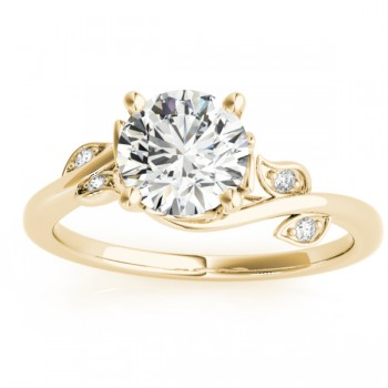 Bypass Floral Diamond Engagement Ring 14k Yellow Gold (0.10ct)