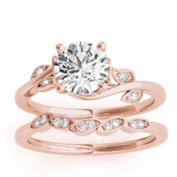 Bypass Floral Diamond Bridal Set Setting 14k Rose Gold (0.15ct)