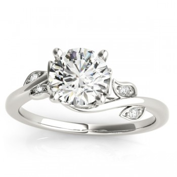 Bypass Floral Diamond Bridal Set Setting 14k White Gold (0.15ct)