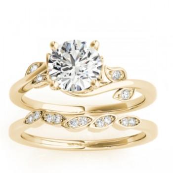 Bypass Floral Diamond Bridal Set Setting 14k Yellow Gold (0.15ct)