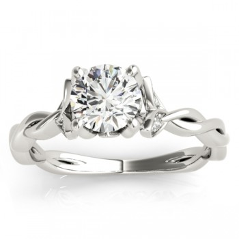 Infinity Leaf Engagement Ring 14k White Gold (0.07ct)