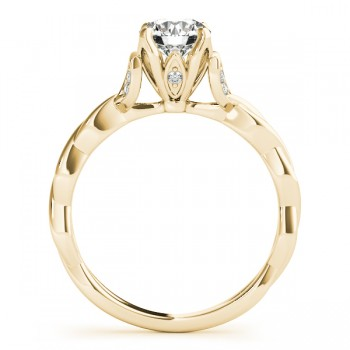 Infinity Leaf Engagement Ring 14k Yellow Gold (0.07ct)
