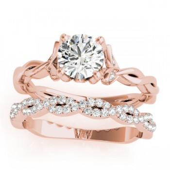 Infinity Leaf Bridal Ring Set 14k Rose Gold (0.32ct)