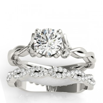Infinity Leaf Bridal Ring Set 18k White Gold (0.32ct)