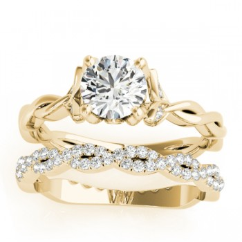 Infinity Leaf Bridal Ring Set 18k Yellow Gold (0.32ct)