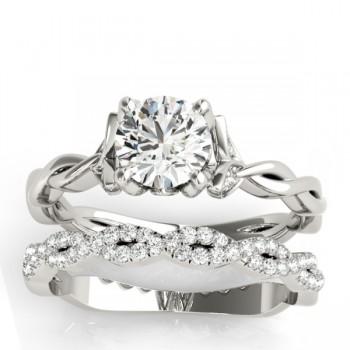 Infinity Leaf Bridal Ring Set Palladium (0.32ct)