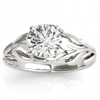 Nature-Inspired Diamond Engagement Ring Setting 14k White Gold (0.16ct)