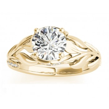 Nature Inspired Diamond Engagement Ring Setting 14k Rose Gold (0.16ct)