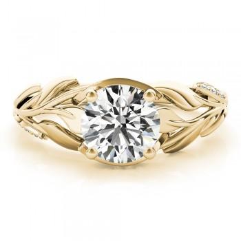 Nature-Inspired Diamond Engagement Ring Setting 18k Yellow Gold (0.16ct)