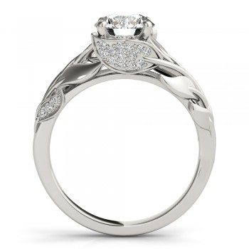 Nature-Inspired Diamond Leaf Bridal Set Setting 14k White Gold (0.19ct)