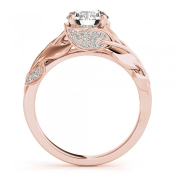 Nature-Inspired Diamond Leaf Bridal Set Setting 18k Rose Gold (0.19ct)