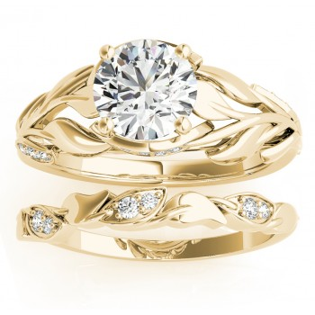 Nature-Inspired Diamond Leaf Bridal Set Setting 18k Yellow Gold (0.19ct)