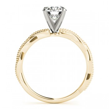 Infinity Solitaire Twist Engagement Ring Setting 14k Yellow Gold