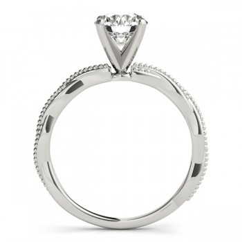 Infinity Solitaire Twist Engagement Ring Setting 18k White Gold