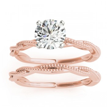 Solitaire Twist Engagement Ring & Wedding Band 14k Rose Gold