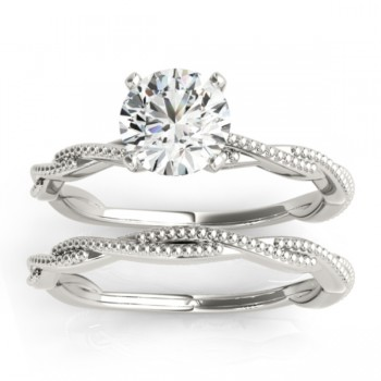 Solitaire Twist Engagement Ring & Wedding Band 18k White Gold