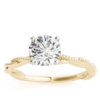 Solitaire Twist Engagement Ring & Wedding Band 18k Yellow Gold