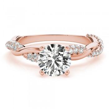 Vine Leaf Infinity Diamond Engagement Ring Setting  14k Rose Gold (0.40ct)