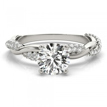 Infinity Twist Diamond Engagement Ring Setting 14k White Gold (0.40ct)