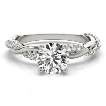 Vine Leaf Infinity Diamond Engagement Ring Setting 14k White Gold (0.40ct)