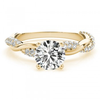 Vine Leaf Infinity Diamond Engagement Ring Setting 14k Yellow Gold (0.40ct)