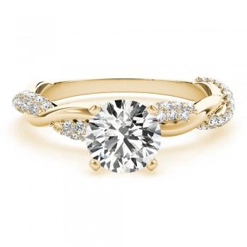 Infinity Twist Diamond Engagement Ring Setting 18k Yellow Gold (0.40ct)