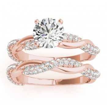 Vine Leaf Infinity Diamond Bridal Set 14k Rose Gold (0.80 ct)