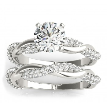 Infinity Twist Diamond Bridal Ring Set Setting 14k White Gold (0.80 ct)