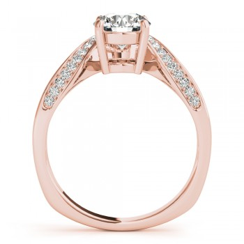 Diamond Euro Shank Curved Engagement Ring in 18k Rose Gold (0.16ct)