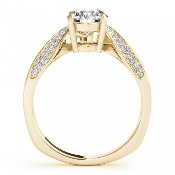 Diamond Euro Shank Curved Engagement Ring in 18k Yellow Gold (0.16ct)