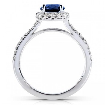 Sapphire and Cushion Diamond Halo Fashion Ring 14k White Gold (0.75ct)