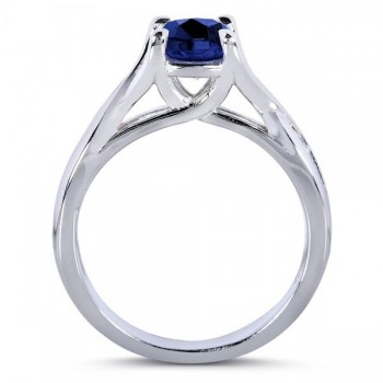 Blue Sapphire & Diamond 3-Piece Bridal Set in 14k White Gold (1.95ct)
