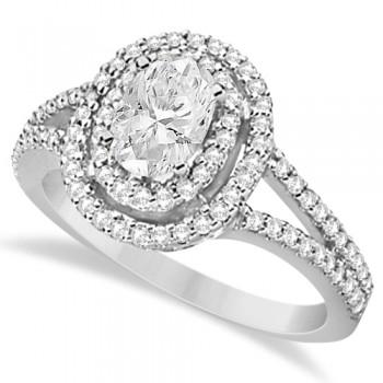 Double Halo Diamond & Moissanite Engagement Ring 14K White Gold 1.34ctw