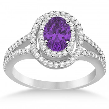 Double Halo Diamond & Amethyst Engagement Ring 14K White Gold 1.34ctw