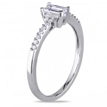 Emerald Cut Diamond Engagement Ring w/ Side Stones 14k W. Gold 0.50ct