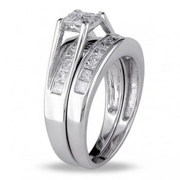 Bridal Ring Set with Princess Cut Diamonds 14k White Gold (1.00ct)